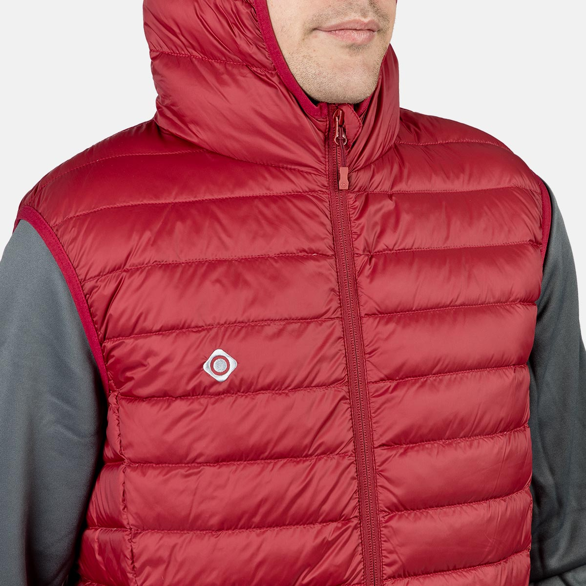 MAN'S SERENI DOWN VEST WITH HOOD RED