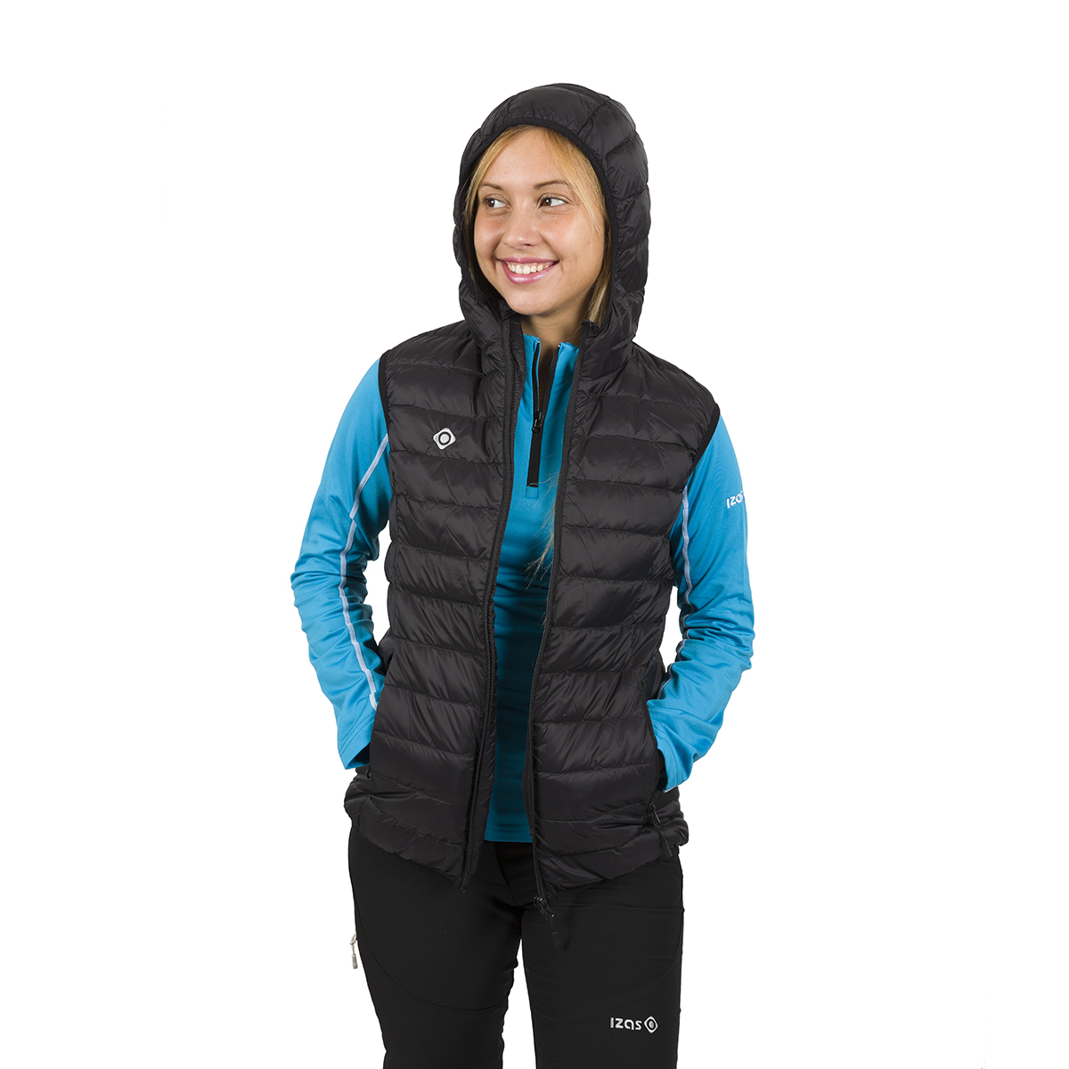WOMAN'S ALASKA DOWN VEST WITH HOOD BLACK
